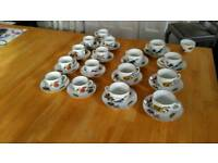 Royal Worcester Evesham teacups and coffee cups and saucers