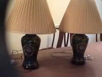 Matching pair of oriental table lamps.