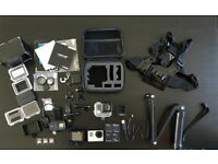 GoPro BLACK, 4K with Touch Screen and Remote Control, 3 Memory Cards and tons of other accessories