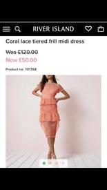 Coral lace dress size 8
