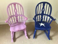 Two charming children's rocking chairs, one blue one pink