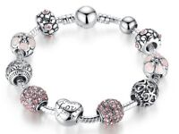 Women Bracelet Antique Silver Charm & Bangle with Love and Flower Crystal Ball