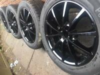 "New 17"" Gloss Black alloy wheels +NEW Tyres 5x108 Ford Transit Connect Volvo V70 CAN POST"