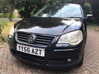 2006 VW POLO 1.4 SE 75 bhp 5dr Hatchback,55 Reg,BLACK Color,113000 Mile,SH,Alloys,A/C