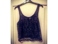 Black Lace Crop Top - Size 14 - Brand New