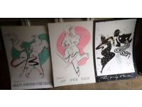 """3 x Rare Ty Wilson Serigraphs Size 36 x 24in, Rock Around The Clock"""". """"At the Hop"""". """"Rhythm""""."""