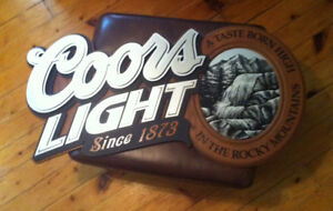 Wood & Aluminum Coors Light Bar Sign