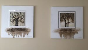 Two wall mount tree paintings