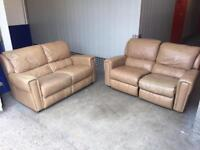 2x genuine leather sofa with recliners, Free delivery