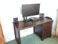 Black Wooden Desk With Side Cabinet Exeter Devon