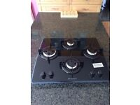 Hotpoint GD64K 60cm black gas on glass hob - new