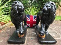 Pair Antique Georgian Bronze Style Large Lions Gold Ball Stone Garden Statues