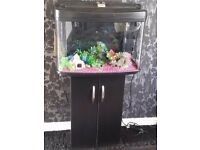 FISH POD 64L BOW FRONTED FISH TANK WITH STAND AND EXTRAS,FULL SETUP