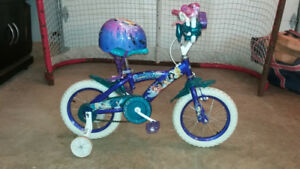 "Girls 12"" Tinker Bell bike with training wheels"