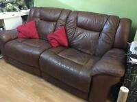 Leather sofa recliner electric brown dfs
