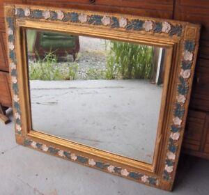 Antiquité grand Miroir Bois Plâtre Doré Rétro Vintage