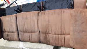 Microsuede reclining couch and matching recliner