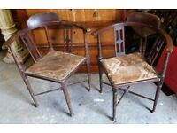 Restoration Project Pair Of Georgian Or Victorian Mahogany Bow-Back Corner Chairs Restoration