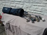 Ready for a new challenge? Set of lady's golf clubs + bag. Good condition.