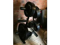 Body power 125kg Olympic barbell weight set including weight tree