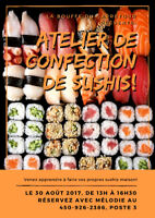 Atelier de confection de sushis!