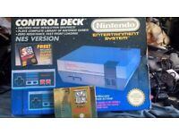 Nes boxed console with zelda