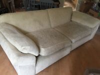 Cream Comfy Large Material Sofa - In Need Of A Little Love