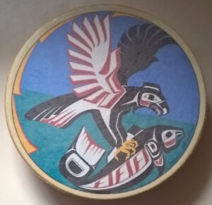 Vintage Haida Native American Drum Salmon Fish by Clarence Wells