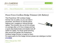 Power Force Cordless Hedge Trimmer 18V