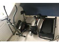 Gym equipment- folding electric treadmill, cross trainer/exercise bike, rowing machine