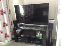 Black gloss and glass TV unit - 120cmW x 61cmH x 50cmD - good condition, buyer to collect