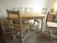Vintage Solid Pine Rustic French Farmhouse Style Kitchen Dining Table and Six Chairs