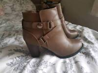 Tan ankle heeled boots