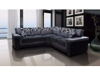 ***BRAND NEW* Luxury Chenille Fabric And Leather Symphony Corner Sofas and Sofa Sets