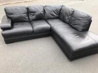 Black full leather corner suite sofa