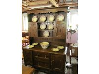 GOOD QUALITY ANTIQUE SOLID OAK DRESSER WITH PLATE RACK