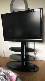 Excellent condition black glossy glass tv stand