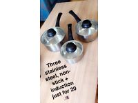 3 stainless steel non stick induction pots
