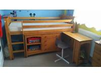 Mid sleeper bed, pine good condition with chest of drawers and small wardrobe