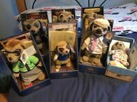 Original Meerkat Compare the Market Toys - all brand new with tags, boxed and certificates