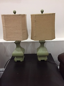 Two lamps - green and beige