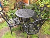 Aluminium garden table and four chairs