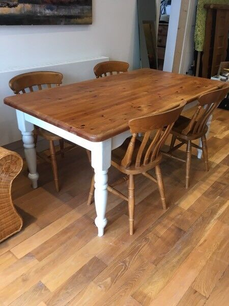 Pine farmhouse table and four chairsin Newquay, CornwallGumtree - Pine farmhouse table with legs painted in pale duck egg. Four chairsAll in perfect condition £120 ono