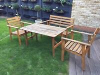 IKEA WOODEN GARDEN FURNITURE SET Table & 2 Chairs + 1 Bench