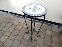 garden table with mosaic top
