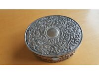 Ornate Silver Coloured Metal Jewelery Box