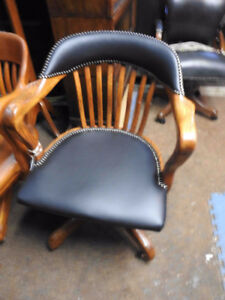 antique krug office chairs, leather seat and leather upper back