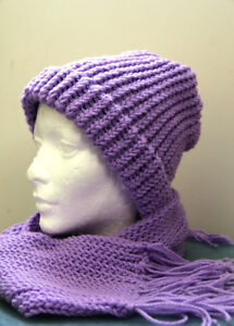 Hand knitted Winter Hat & Scarf