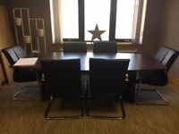 Rosewood Executive Boardroom Table and 6 Leather Conference Chairs
