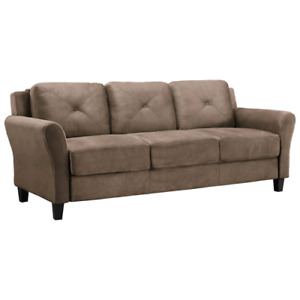 Hartford Transitional Micro Suede Sofa and Loveseat - Light Brow